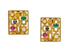 A Pair of 18 Karat Yellow Gold Diamond Ruby Sapphire