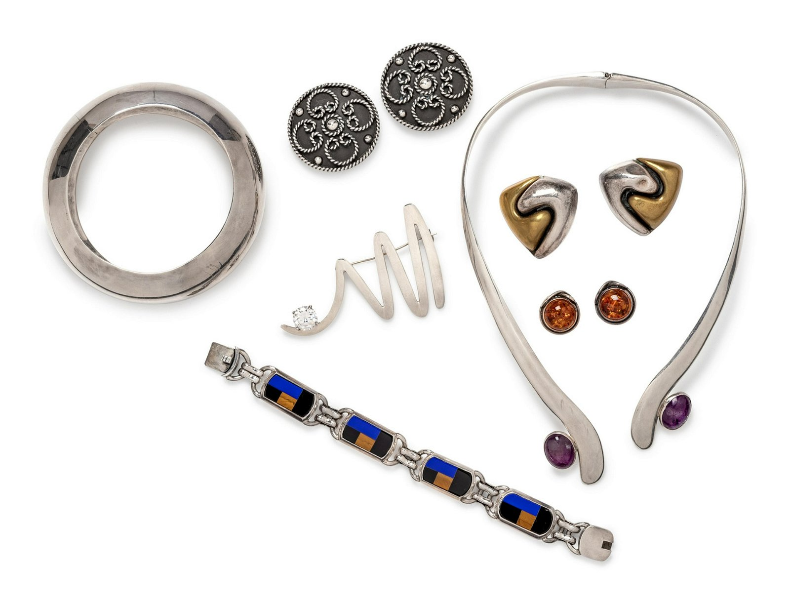A Collection of Sterling Silver and Multigem Jewelry,