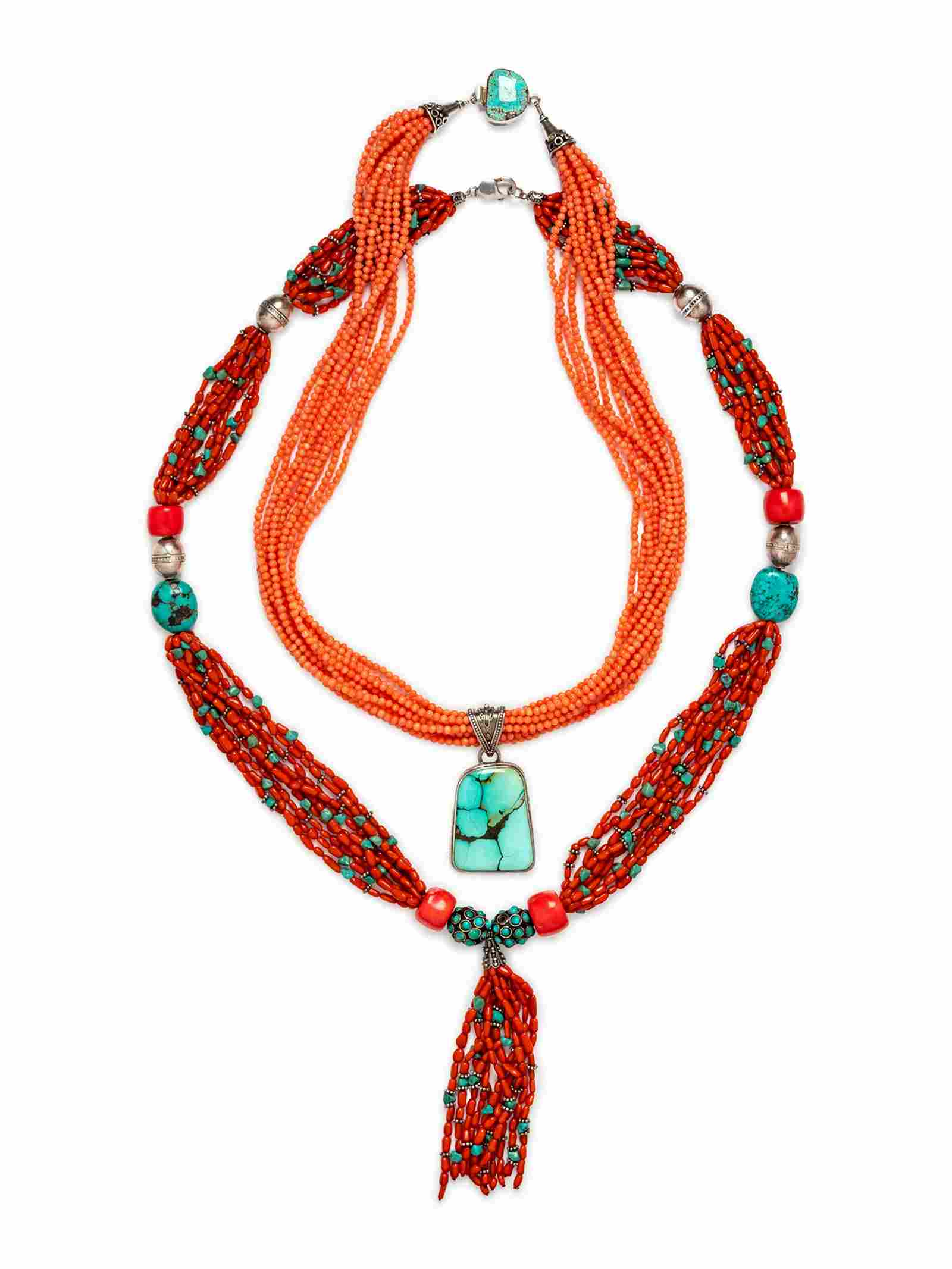 A Collection of Sterling Silver, Coral and Turquoise