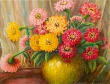 Jane Peterson American 18761965 Zinnias oil o