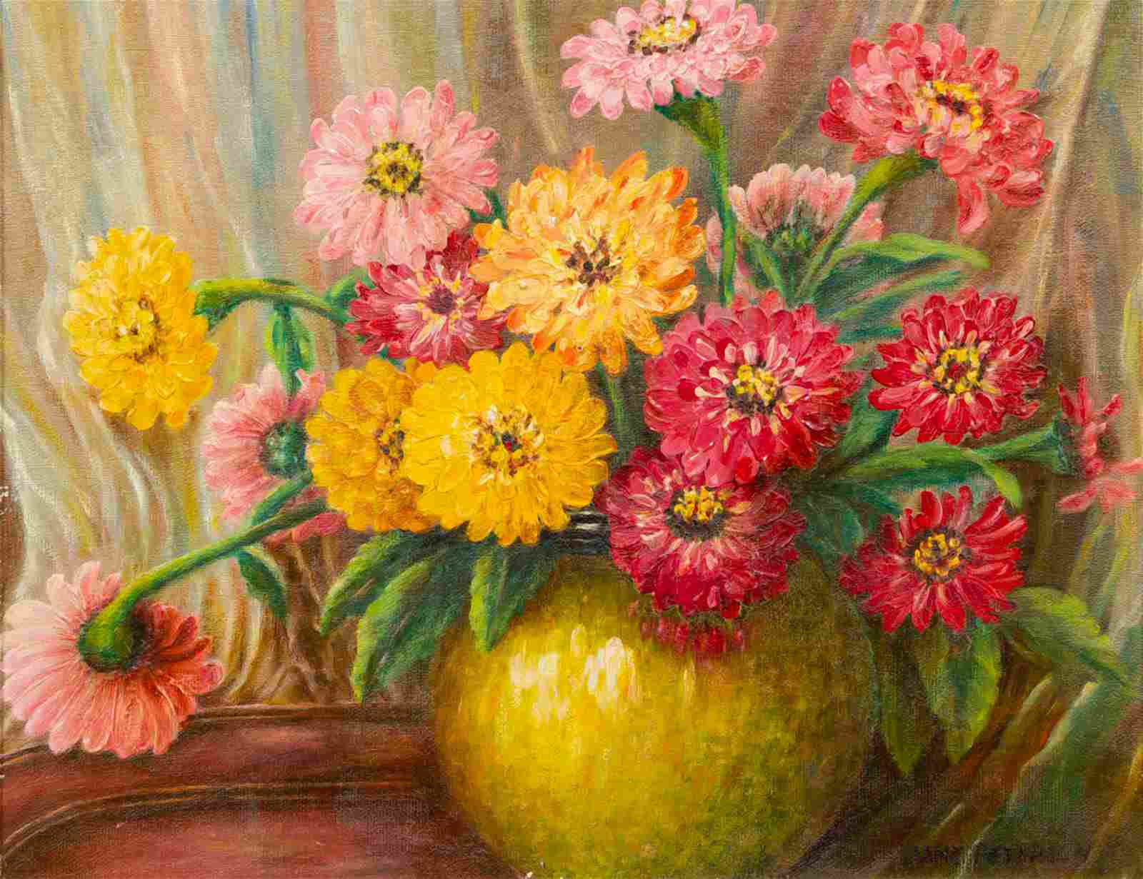 Jane Peterson (American, 1876-1965) Zinnias oil o