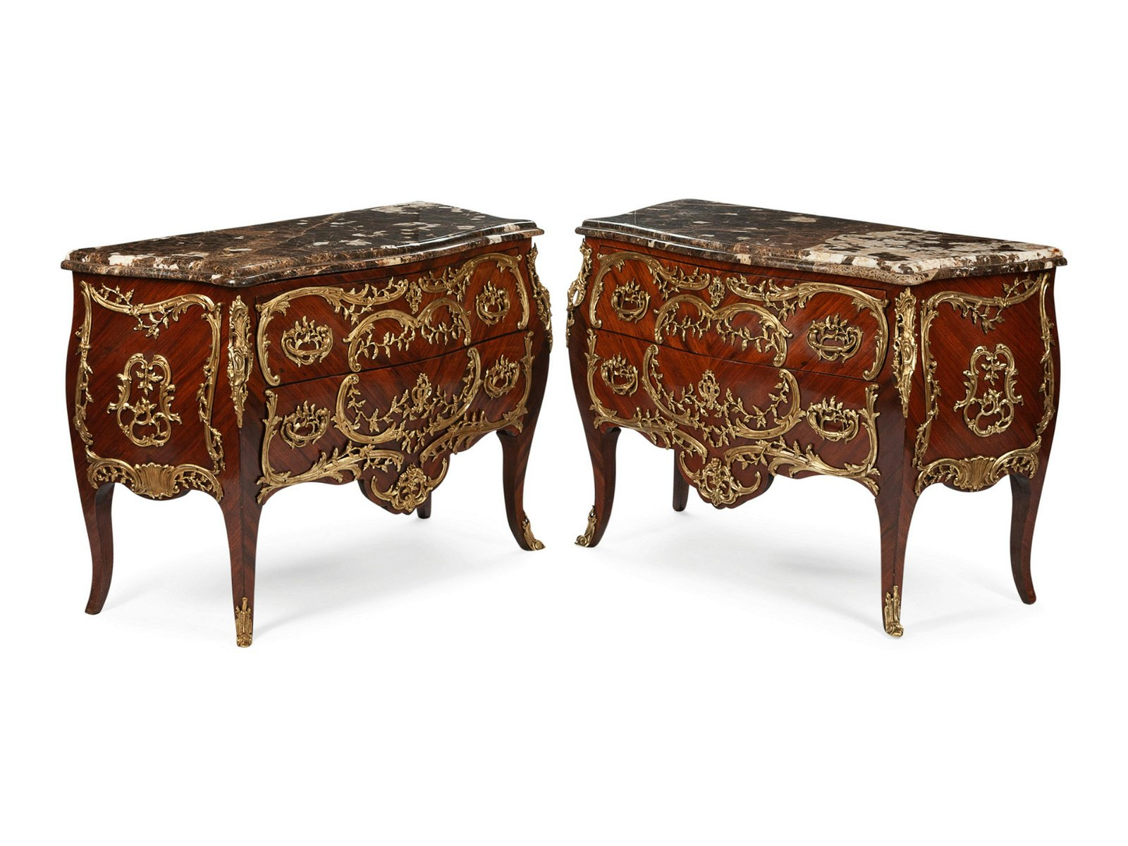 A Pair of Louis XV Style Gilt Bronze Mounted Commodes