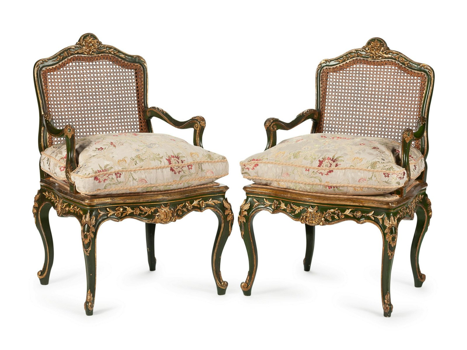 A Pair of Louis XV Style Painted and Parcel Gilt