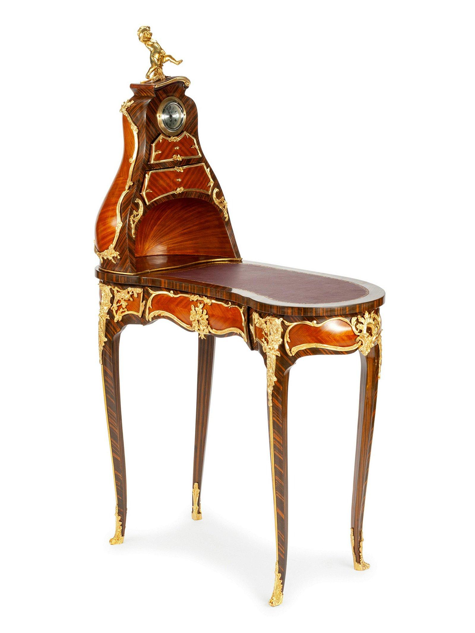 A Louis XV Style Gilt Metal Mounted Cartonnier Desk