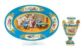 A Sevres Style Porcelain Tray and a Sevres Style