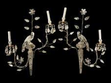 A Pair of Carved Rock Crystal Two-Light Sconces