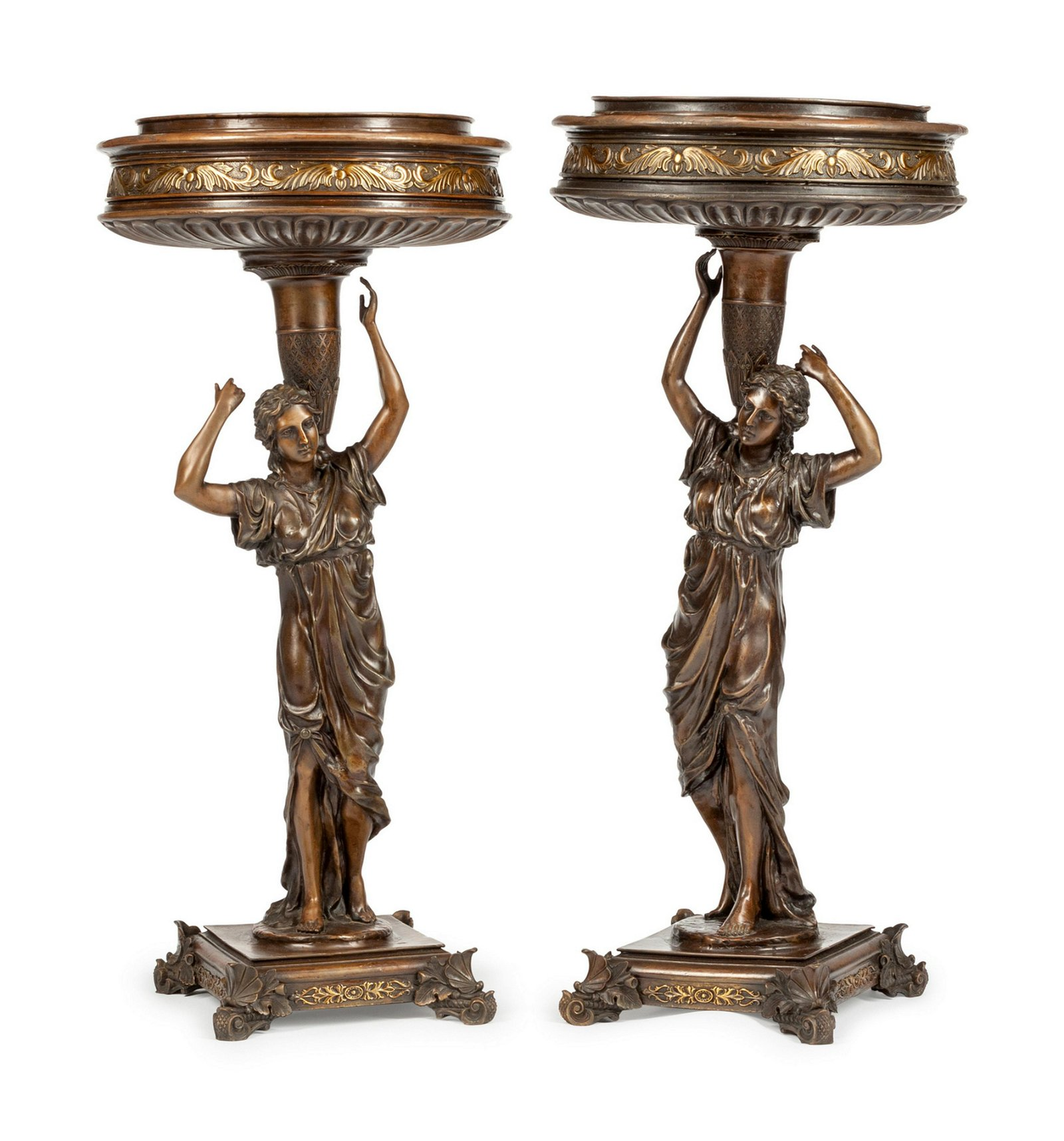 A Pair of Continental Patinated Bronze Figural