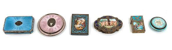 A Group of Five Enameled Silver Compacts