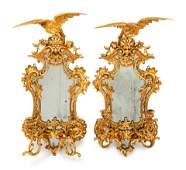 A Pair of George III Style Giltwood Girandole Mirrors