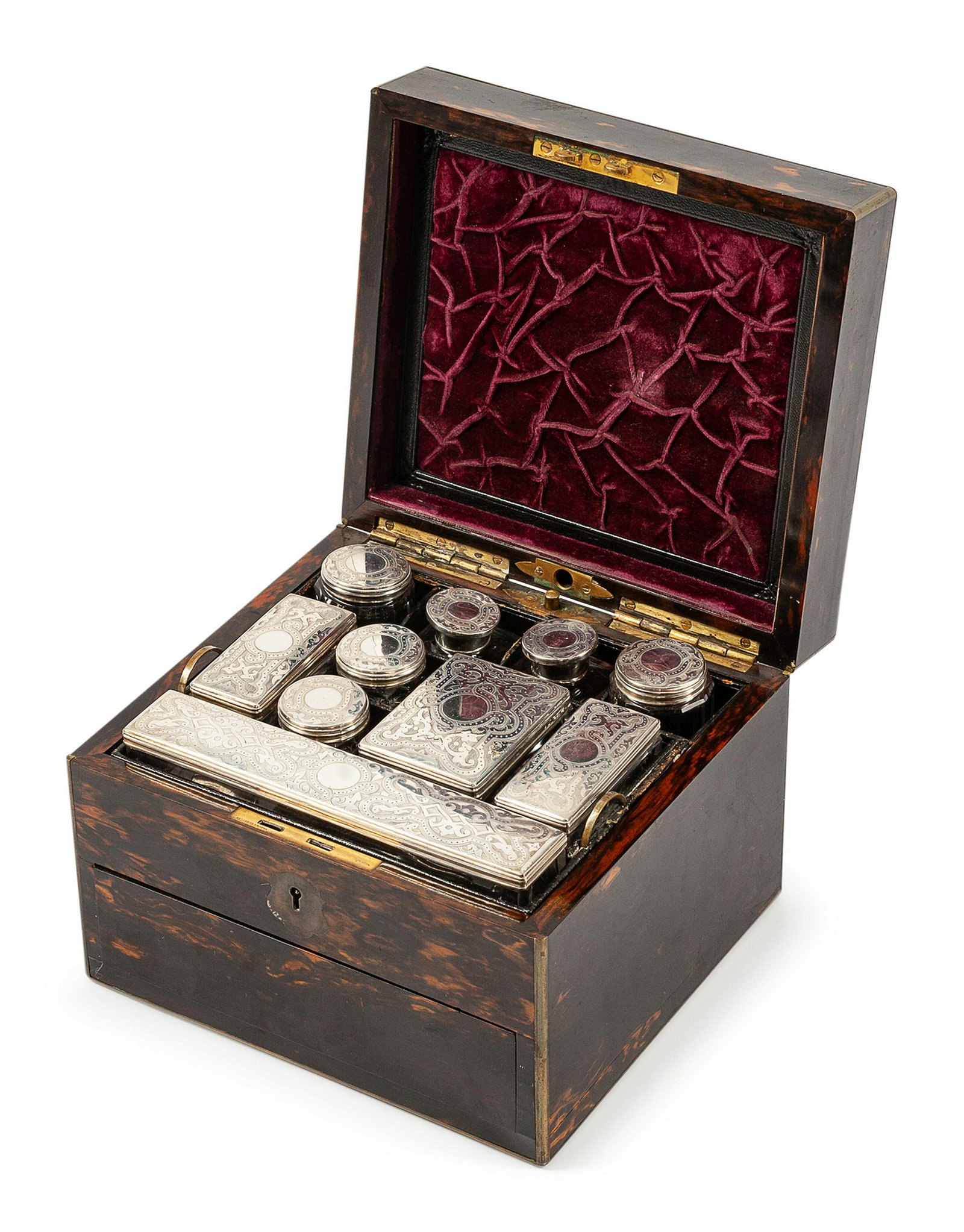 A Victorian Silver Mounted Calamander Toiletry Case
