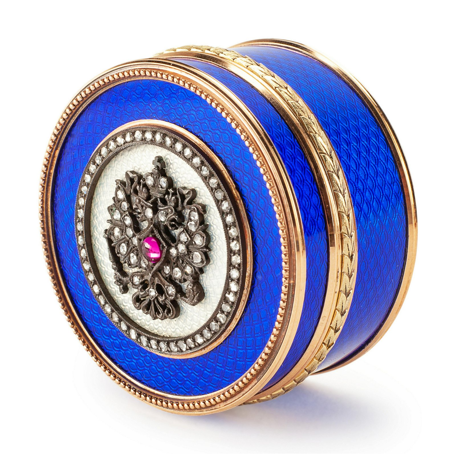 A Russian 14-Karat Gold, Diamond Mounted and Guilloche