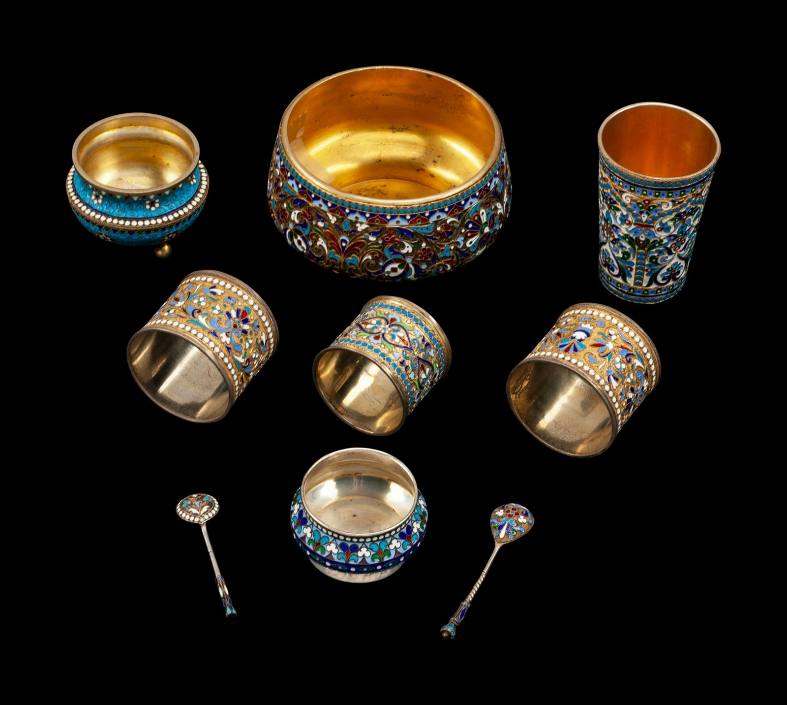 A Group of Seven Russian Enameled Silver Articles