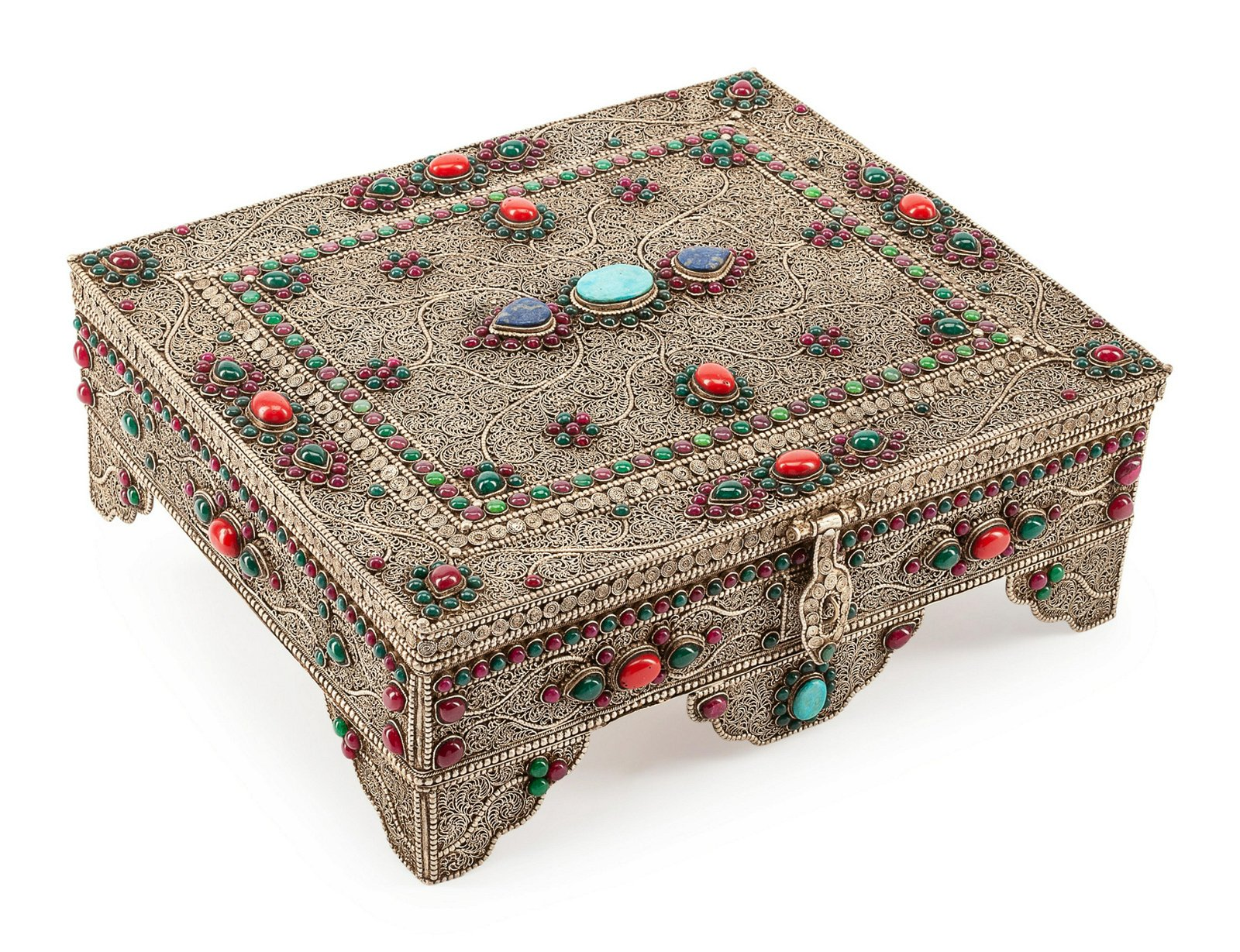 A Silver Filigree, Turquoise, Ruby and Enamel Box