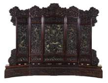 A Large Chinese Carved Hardwood Five-Panel Screen