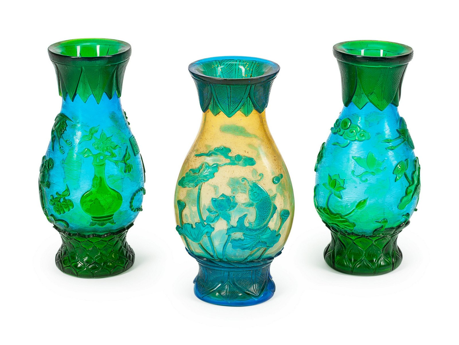 A Peking Glass Three-Piece Garniture