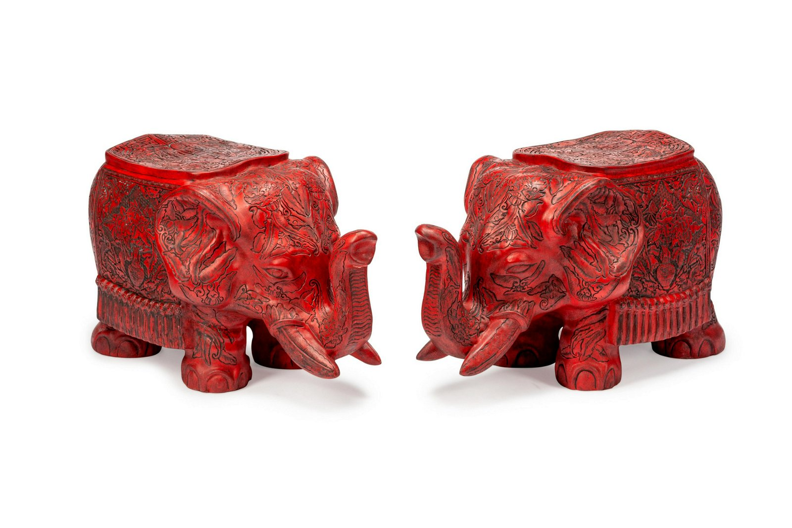 A Pair of Chinese Carved Red Lacquer Elephant Seats