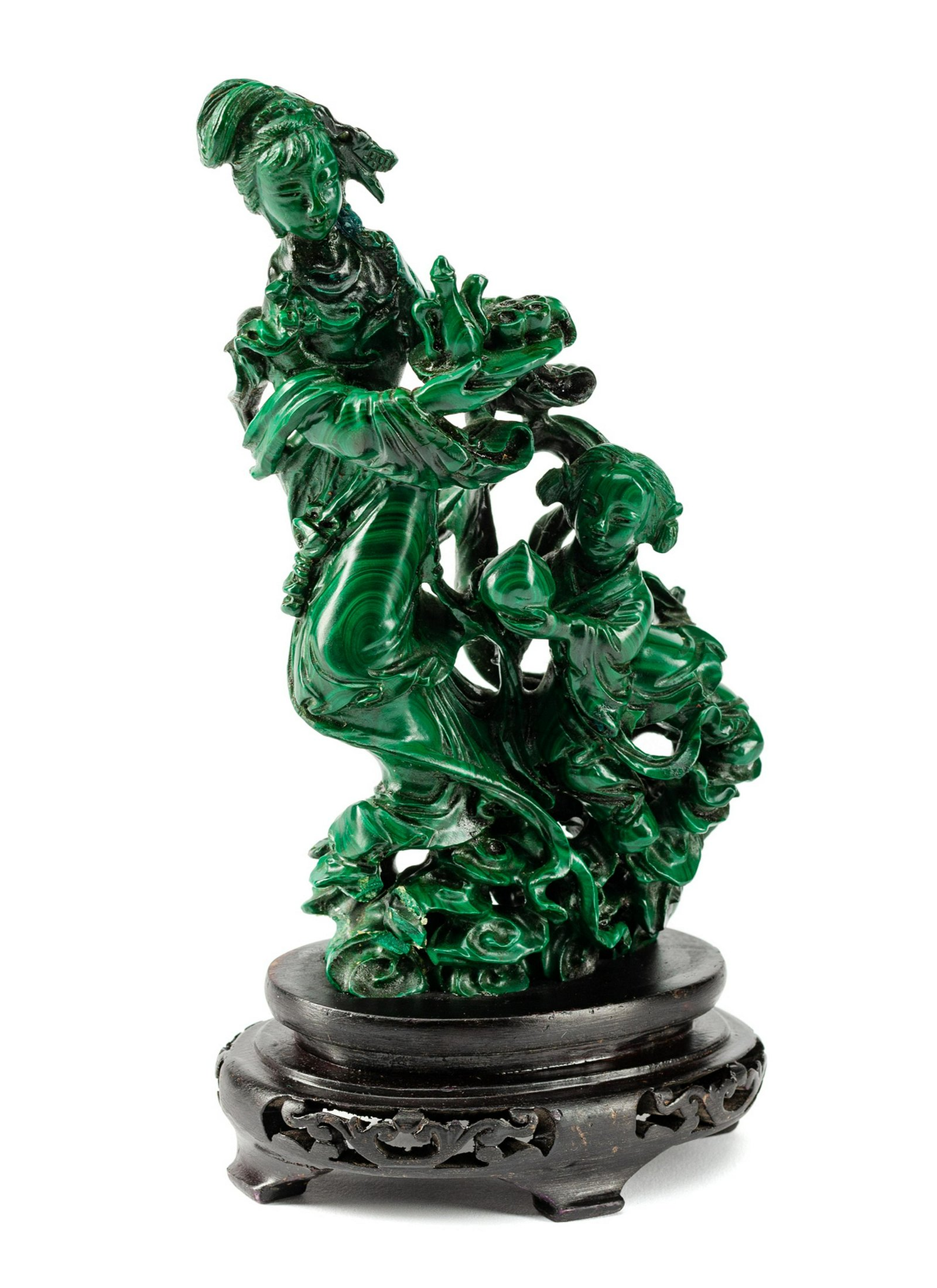 A Chinese Carved Malachite Group