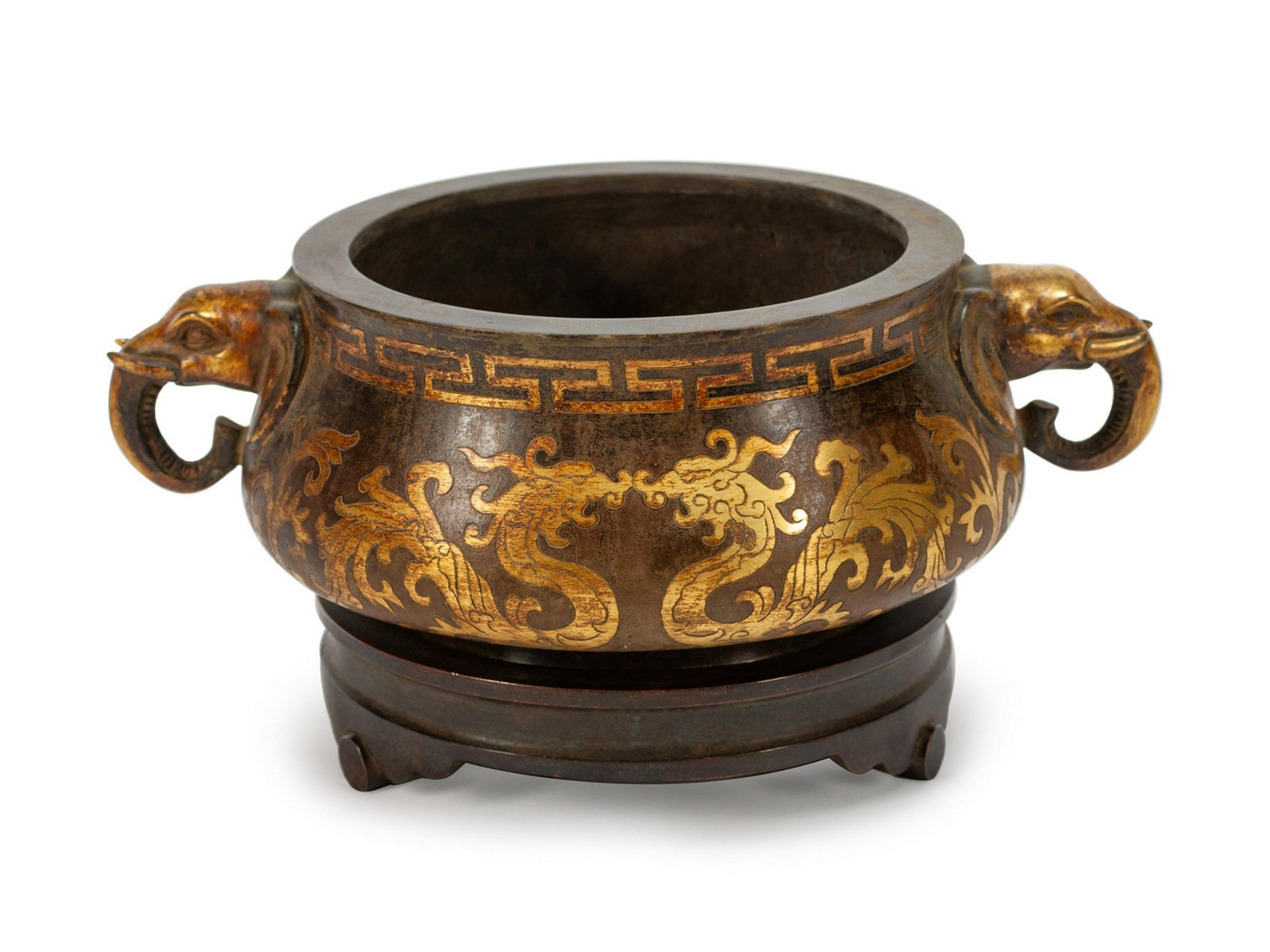A Chinese Mixed Metals Inlaid Bronze Censer