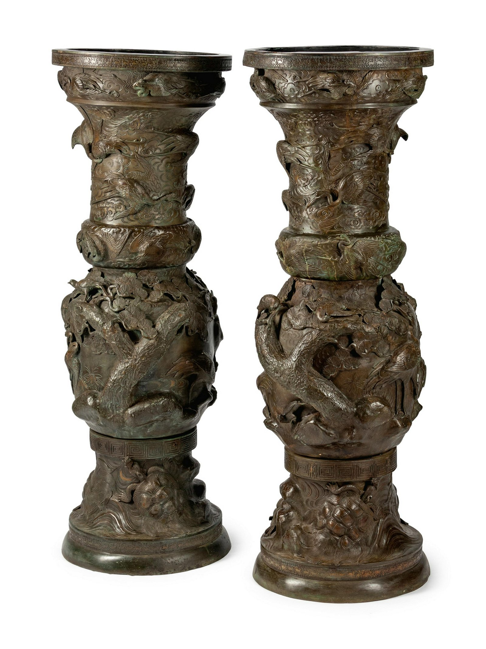 A Pair of Monumental Japanese Patinated Bronze Urns
