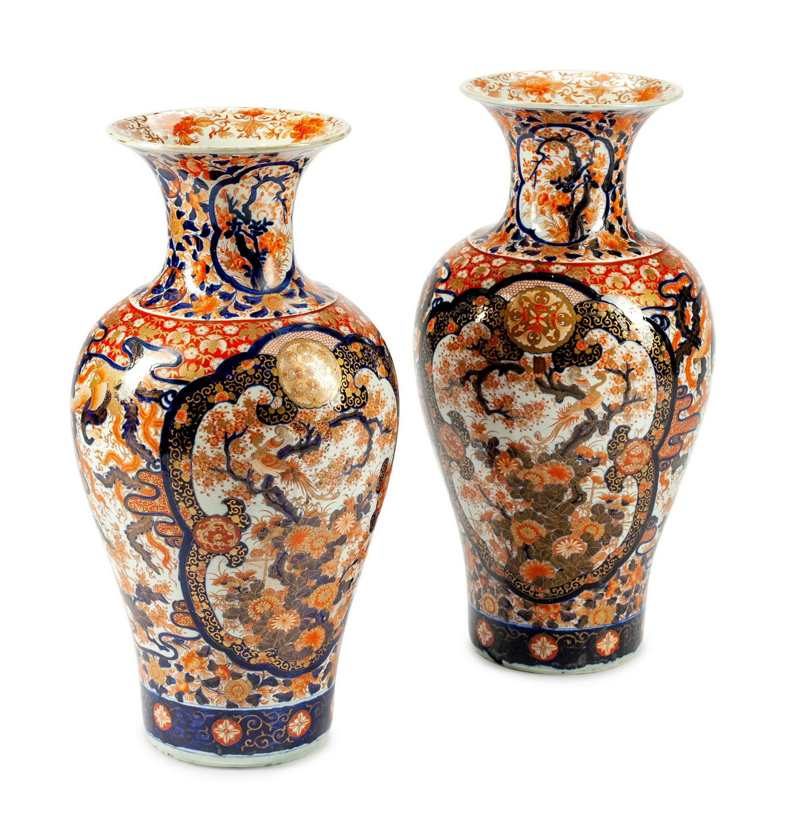 A Pair of Large Japanese Imari Vases