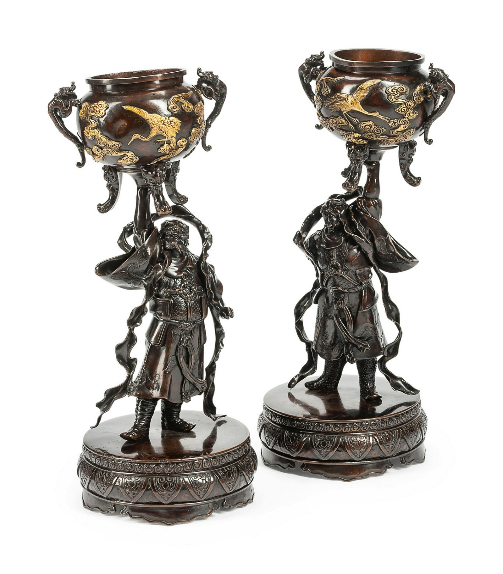 A Pair of Japanese Gilt and Patinated Bronze Figural