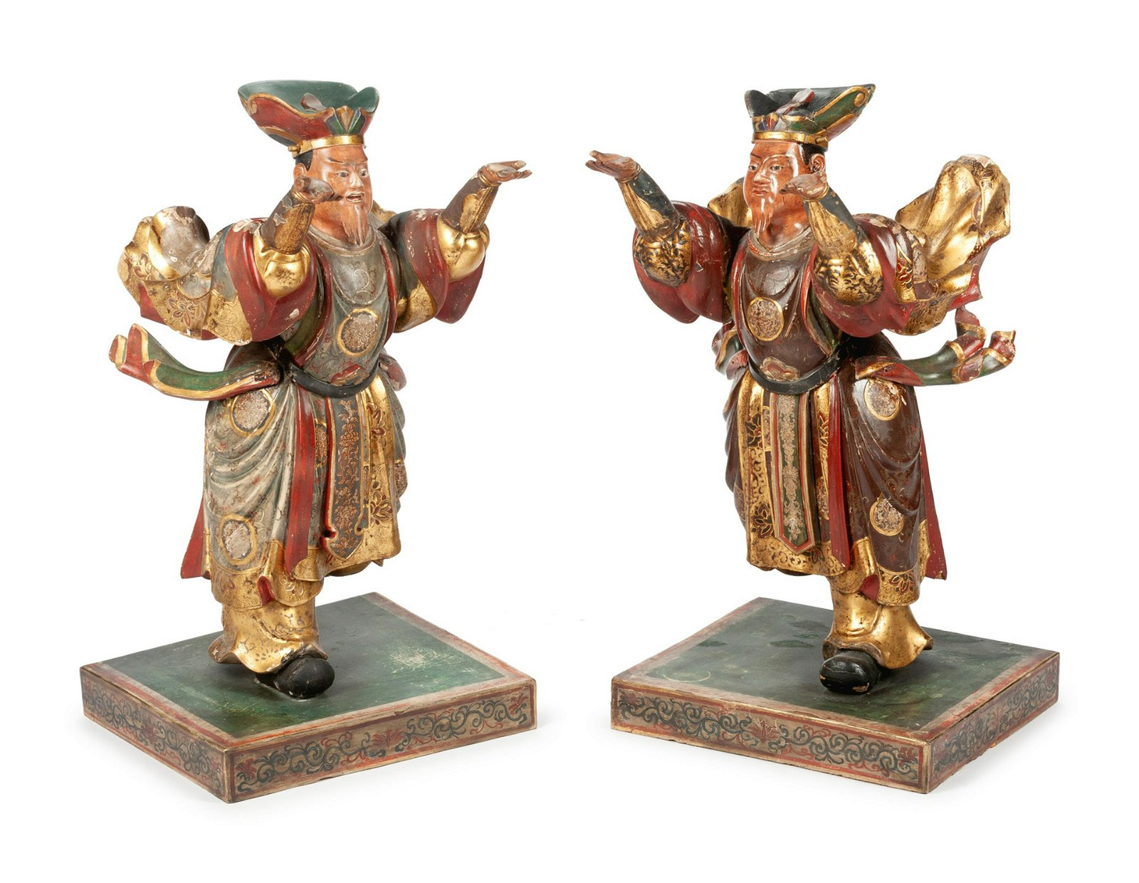 A Pair of Japanese Carved and Polychromed Figures