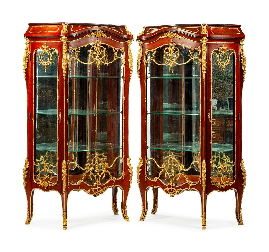 A Pair of Louis XV Style Gilt-Bronze-Mounted Kingwood