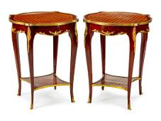 A Pair of Louis XV Style GiltBronzeMounted Parquetry