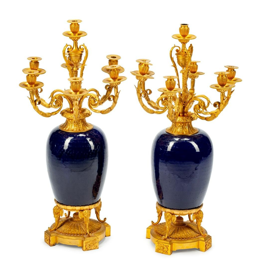 A Pair of Louis XV Style Gilt-Bronze-Mounted Porcelain