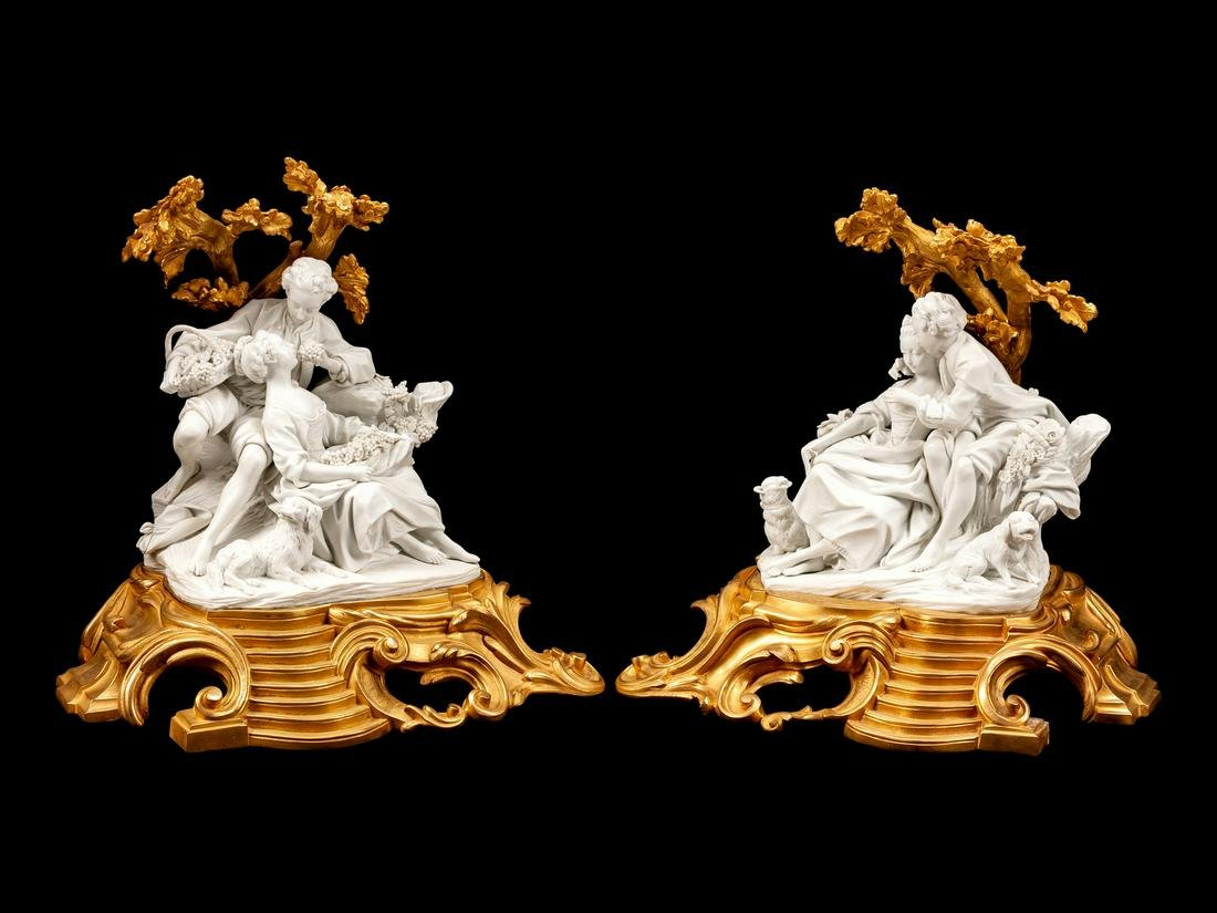A Pair of Louis XV Style Gilt-Bronze and Bisque