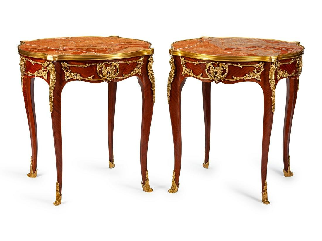 A Pair of Louis XV Style Gilt-Bronze and Marble