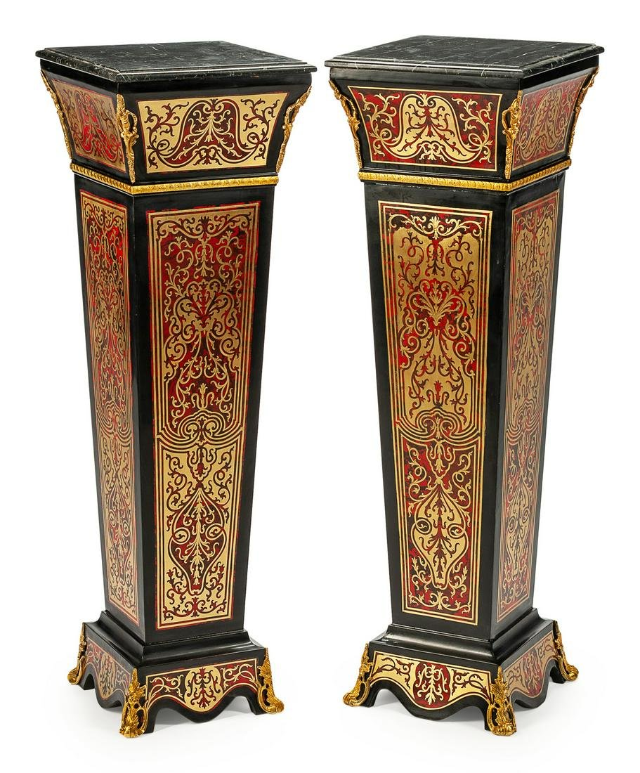 A Pair of Louis XVI Style Boulle Pedestals