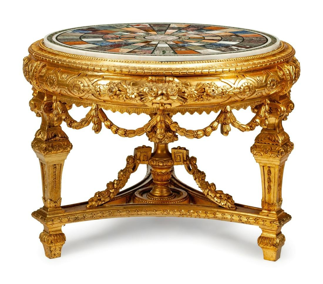 A Louis XVI Style Giltwood and Specimen Marble Center