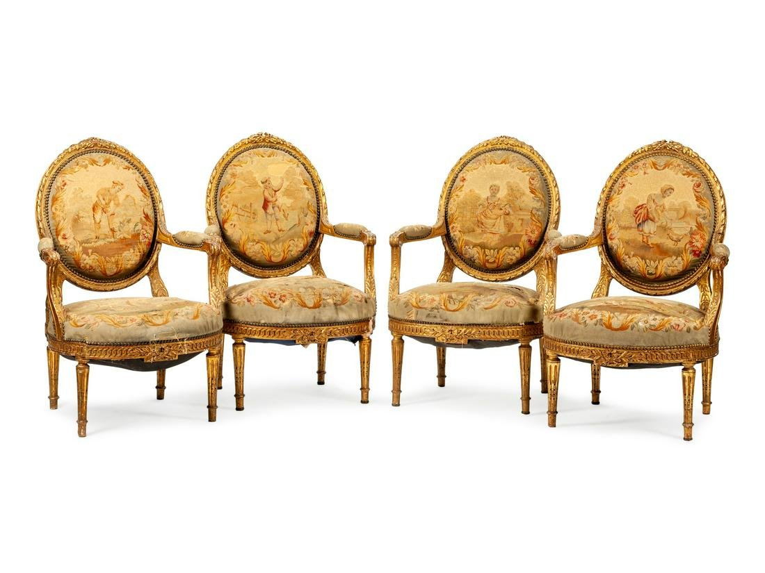 A Set of Four Louis XVI Style Aubusson Tapestry