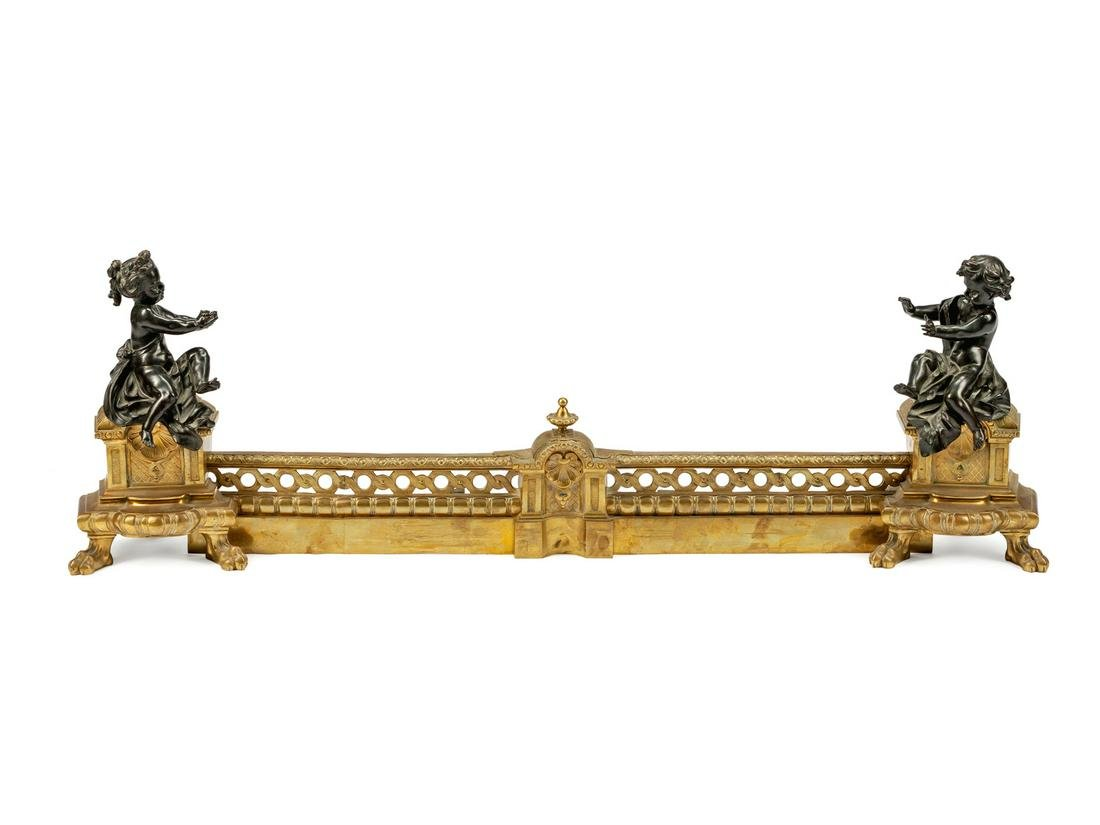 A Pair of Louis XVI Style Parcel-Gilt and Patinated