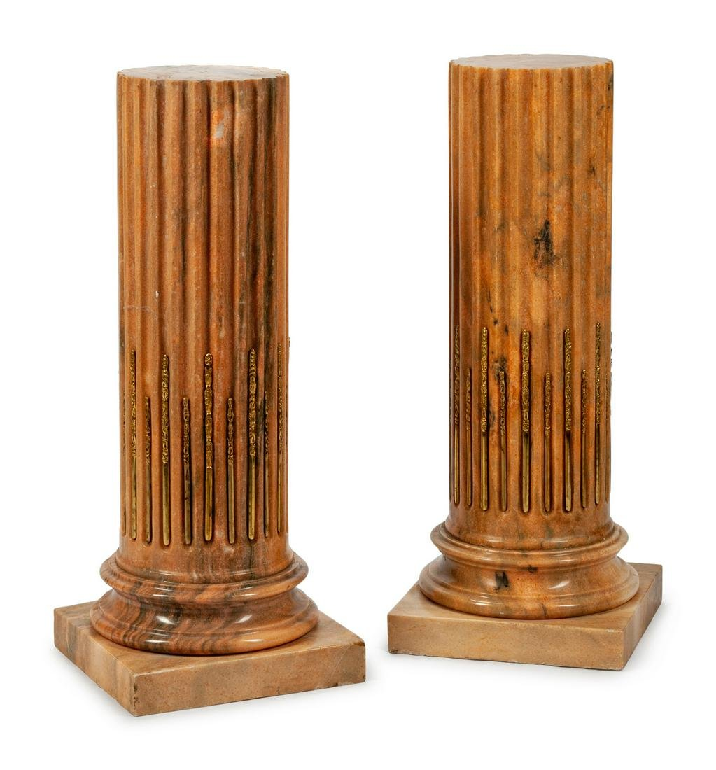 A Pair of Louis XVI Style Bronze-Mounted Fluted Marble