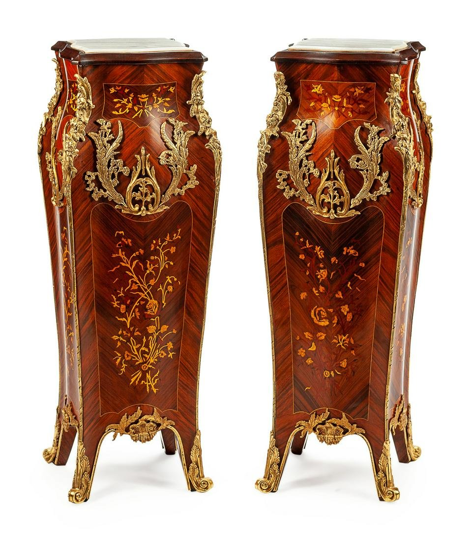 A Pair of Louis XV Style Gilt-Bronze-Mounted Parquetry