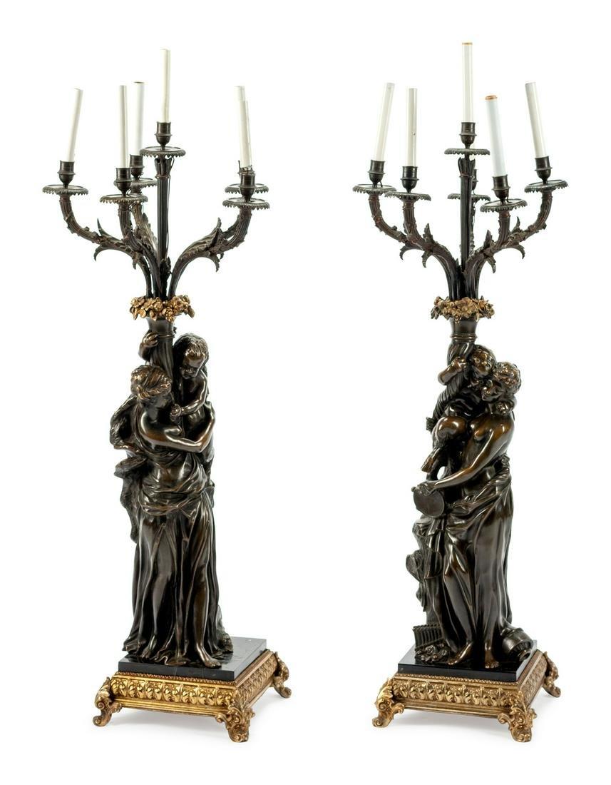 A Pair of Bronze Candelabra