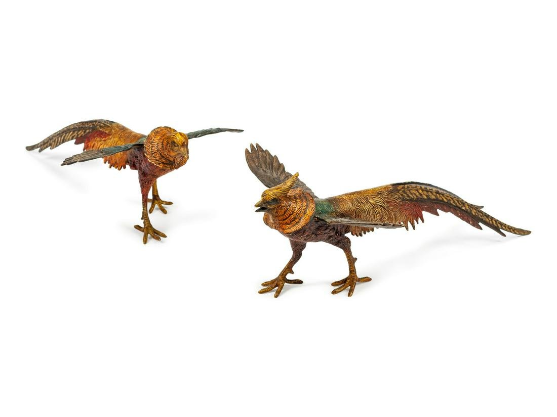 A Pair of Austrian Cold-Painted Bronze Pheasants