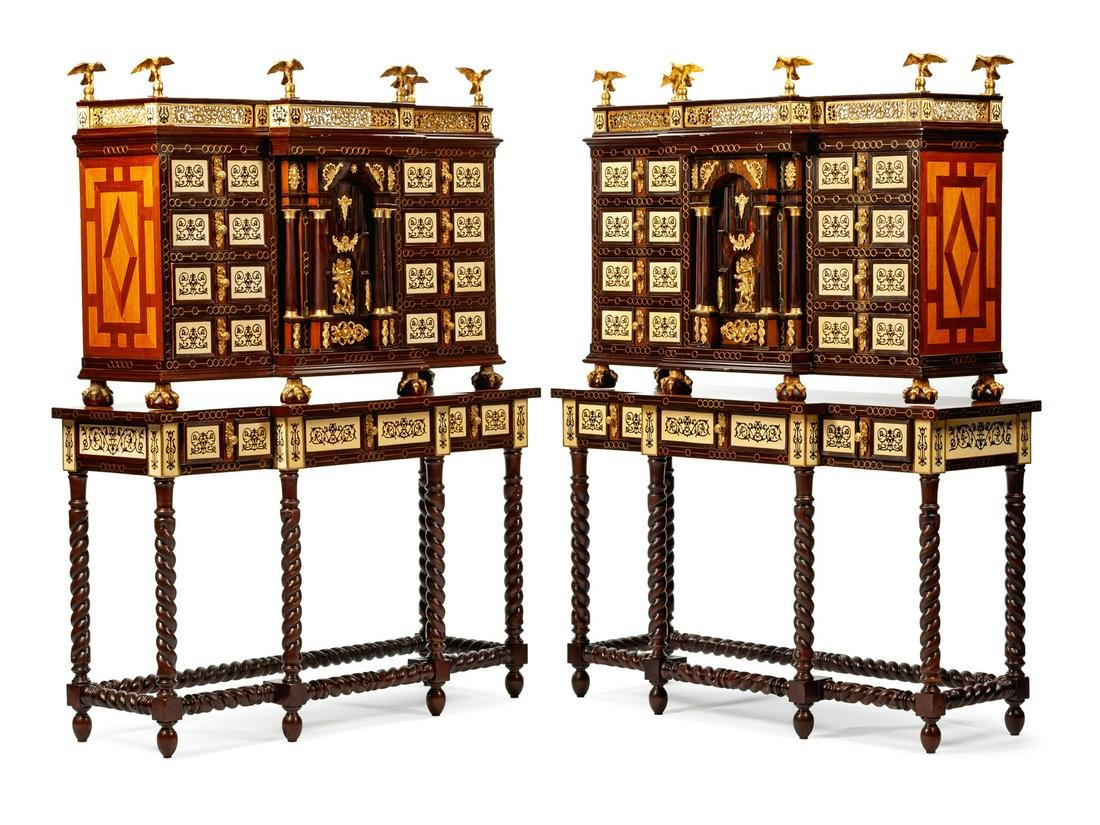 A Pair of Spanish Renaissance Style Varguenos on Stands