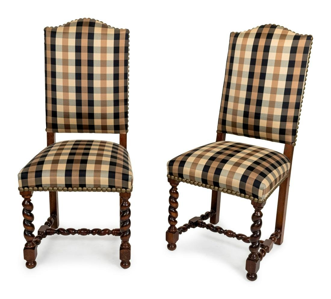 A Set of Six Baroque Style Oak Side Chairs