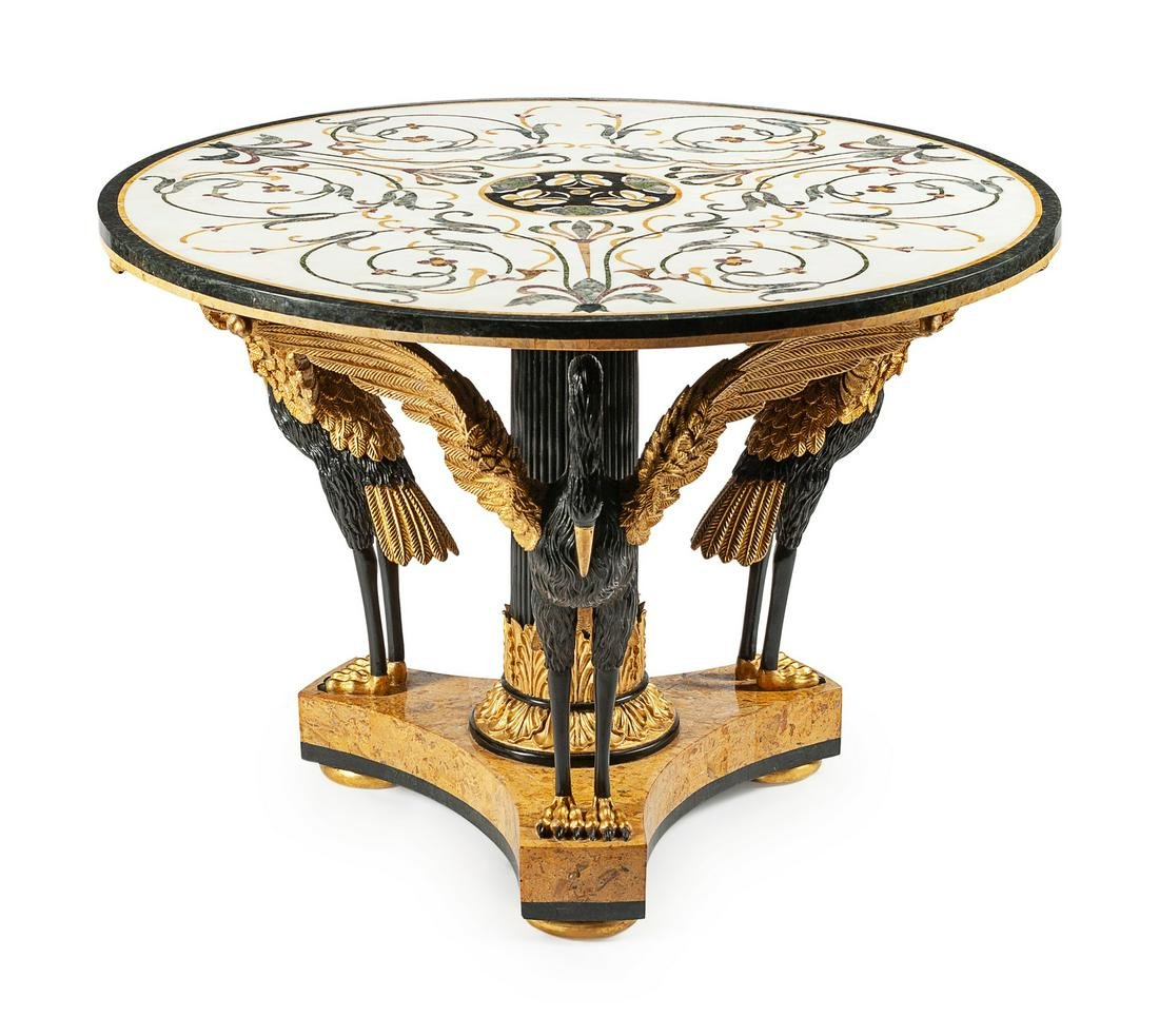 An Italian Neoclassical Style Parcel-Gilt and Inlaid