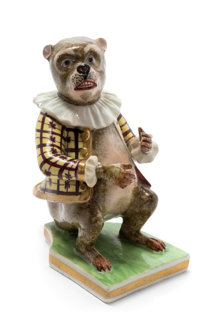 A Bloor Derby Porcelain Figure of a Monkey