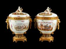 A Pair of GiltBronzeMounted German Porcelain Covered