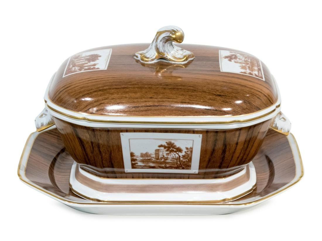 A Mottahedeh Faux Bois Porcelain Tureen, Cover and