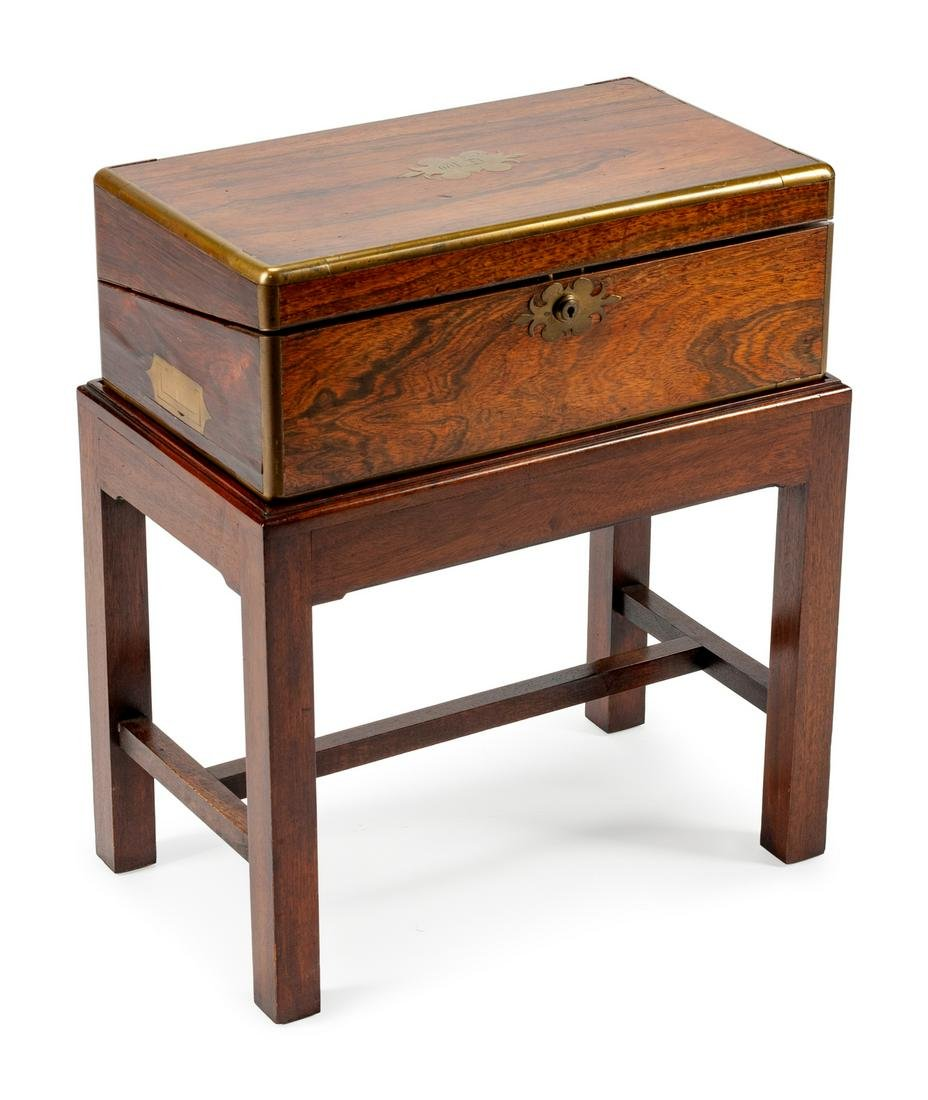 An English Brass-Mounted Rosewood Lap Desk on Later