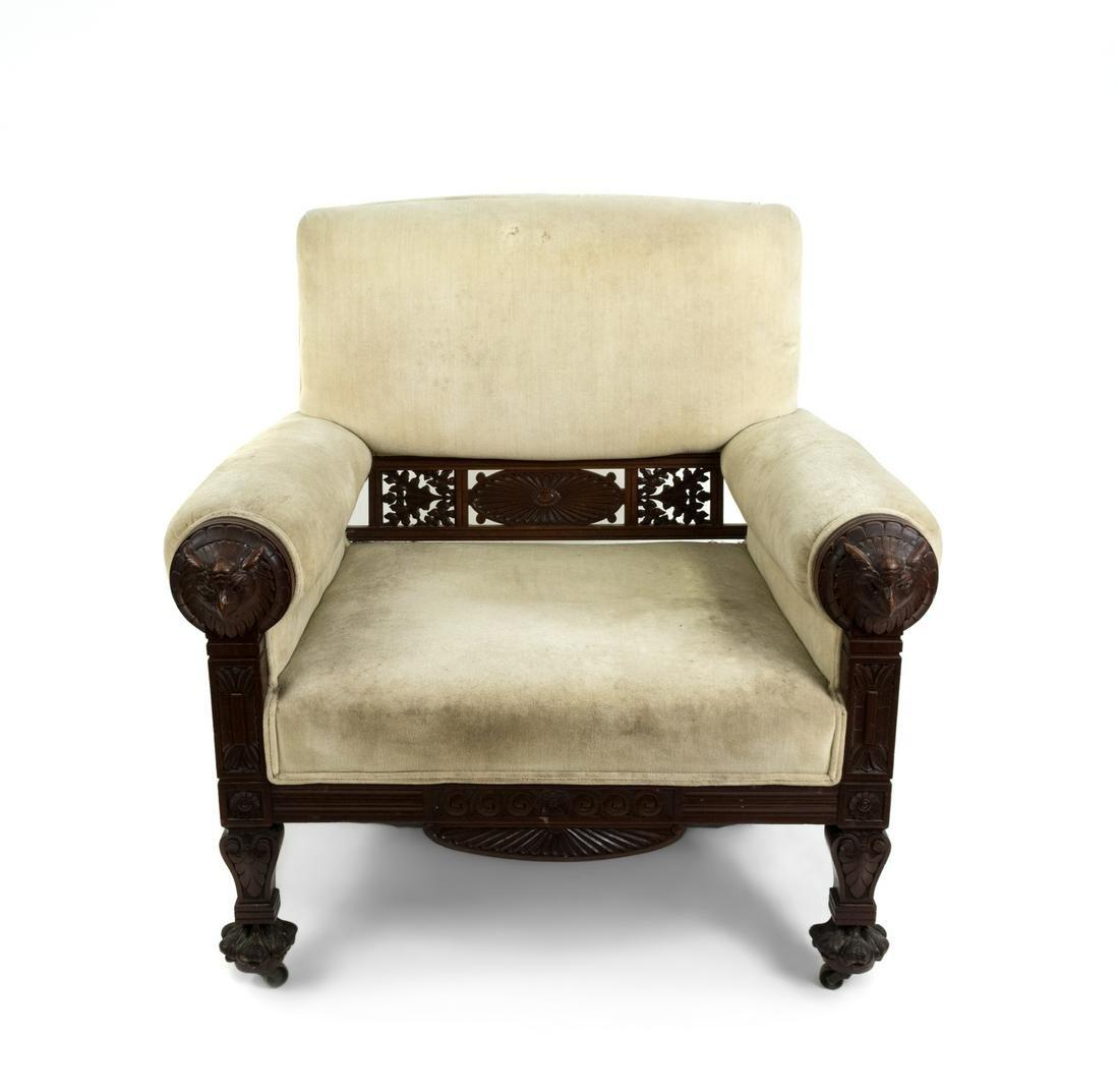 An American Aesthetic Carved Walnut Armchair
