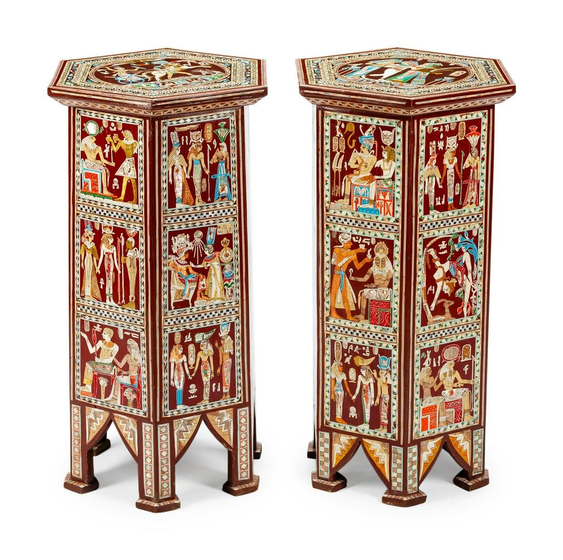 A Pair of Egyptian Revival Style Inlaid and Painted