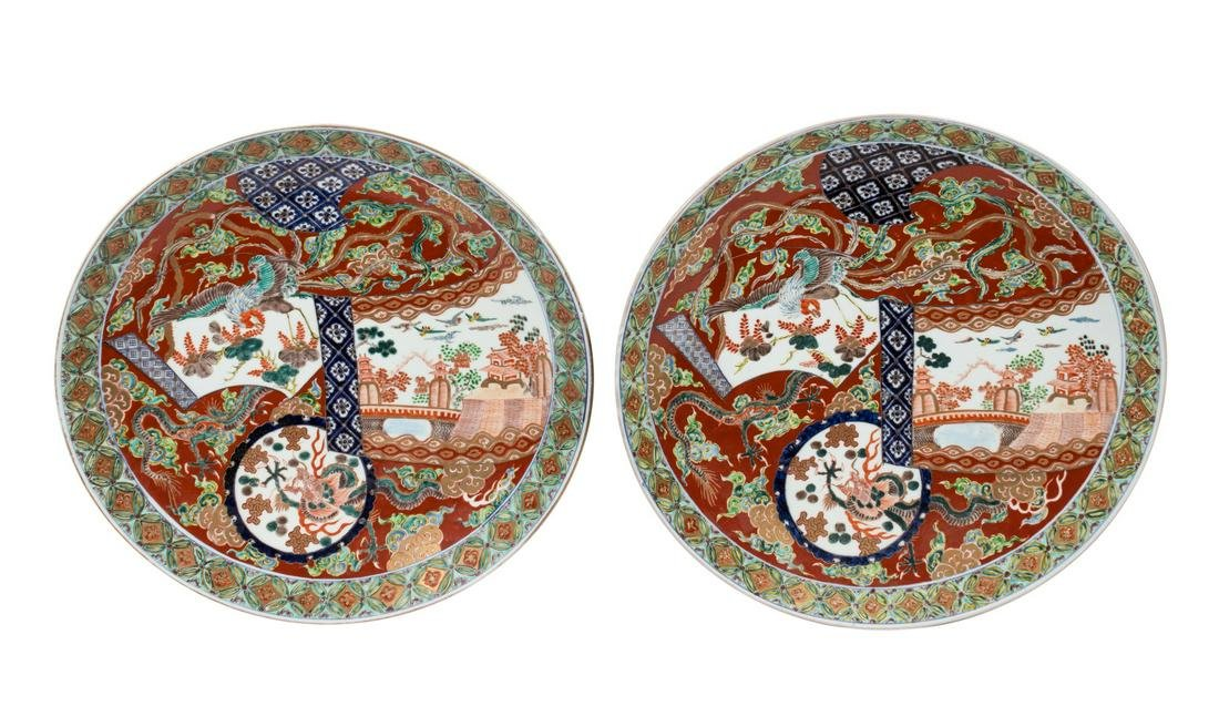 A Pair of Japanese Imari Porcelain Chargers