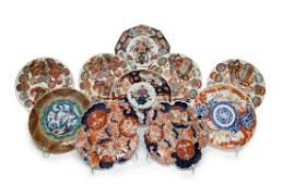 Nine Japanese Imari Porcelain Plates and a Dish